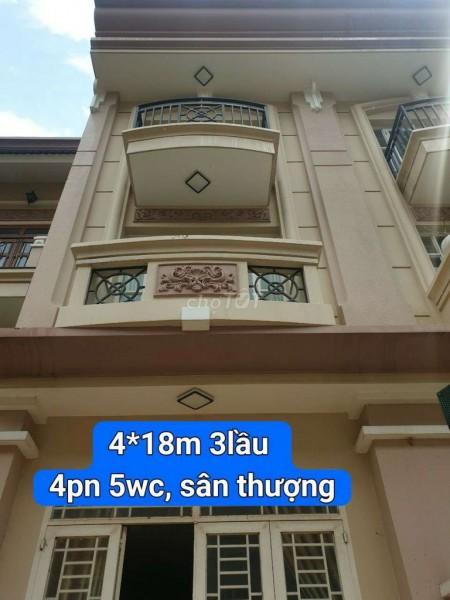 Nhà cho thuê nguyên căn 4 tầng tại đường Nguyễn Thị Sáu Phường Thạnh Lộc Quận 12. Giá thuê chỉ 7 triệu/tháng, 80m2, 4 phòng ngủ, 4 toilet